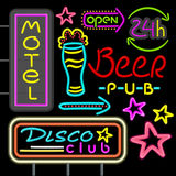 Neon Signboard Disco Club, Beer Pub Design Flat Royalty Free Stock Images