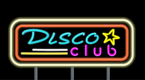Neon Signboard Disco Club Design. Flat style. Signboard template for establishments working at night. Neon light disco night club with electric glow lamp frame Royalty Free Stock Photography