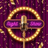 Neon signboard, fame with light bulbs and Retro microphone on stage gainst the purple curtain and falling golden confetti. Vector illustration Royalty Free Stock Photography