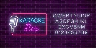 Neon signboard of karaoke music bar with alphabet. Glowing street sign of a nightclub with live music. Sound cafe icon. Rock show poster. Vector illustration royalty free illustration