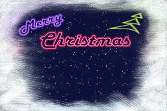 Neon signboard Merry Christmas and neon Christmas tree Stock Image