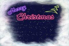 Neon signboard Merry Christmas and neon Christmas tree Stock Image