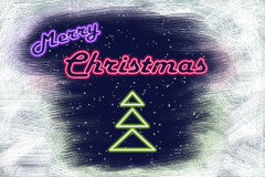 Neon signboard Merry Christmas and neon Christmas tree Royalty Free Stock Images