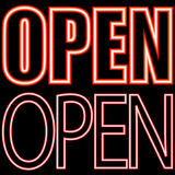 Neon signboard open Stock Images
