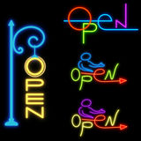 Neon signboard OPEN on a black background. vector  Royalty Free Stock Photo