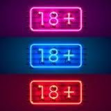 Neon signboard 18 plus color set. Vector illustration stock illustration