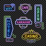 Neon Signboards Realistic Night  Collection Transparent Royalty Free Stock Photography