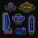 Neon Signboards Realistic Night Icons Collection Stock Photography
