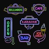 Neon Signboards Realistic Night Icons Collection Royalty Free Stock Images