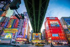 Neon signs and billboard advertisements in  Akihabara. Tokyo, Japan - MARCH 28, 2017: Neon signs and billboard advertisements in  Akihabara electronics hub at Stock Image
