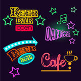 Neon Signs of Cafe, Beer and Bar.  Vector Royalty Free Stock Image