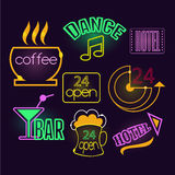 Neon Signs of Cafe, Hotel and Bar.  Vector Royalty Free Stock Photos