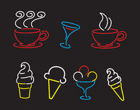 Neon signs. For coffee, ice cream, cocktail, advertising Stock Photo