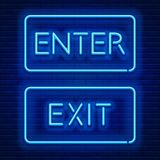 Neon signs Enter and Exit Stock Photos