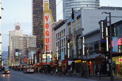 Neon signs on Granville Street in Vancouver Stock Image
