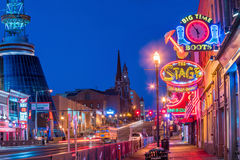 Neon signs on Lower Broadway Nashville Royalty Free Stock Images