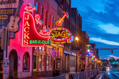 Neon signs on Lower Broadway Nashville. NASHVILLE - NOV 11: Neon signs on Lower Broadway Area on November 11, 2016 in Nashville, Tennessee, USA stock image