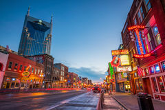 Neon signs on Lower Broadway Nashville. NASHVILLE - NOV 11: Neon signs on Lower Broadway Area on November 11, 2016 in Nashville, Tennessee, USA Stock Images