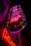 Neon Signs at Night in North Beach, San Francisco - Low Angle Ve Stock Images