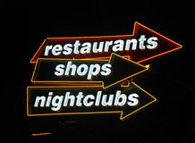 Neon signs at nightlife hotspot stock images