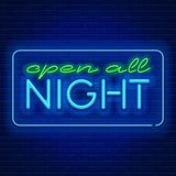 Neon signs open all night Stock Image