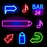 Neon signs set Royalty Free Stock Image