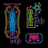 Neon signs set bar in the style of Western. Royalty Free Stock Photos