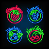 Neon signs. The set of different bright signboard with fruit. Stock Photos