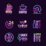 Neon Signs Set Royalty Free Stock Photo