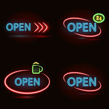 Neon signs set Royalty Free Stock Photos