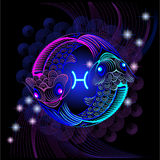 Neon signs of the Zodiac: Pisces. A series of signs of the zodiac. Made in neon art. On a black background constellations Royalty Free Illustration