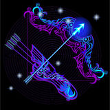 Neon signs of the Zodiac: Sagittarius. A series of signs of the zodiac. Made in neon art. On a black background constellations Royalty Free Illustration