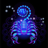 Neon signs of the Zodiac: Scorpio. A series of signs of the zodiac. Made in neon art. On a black background constellations Royalty Free Illustration