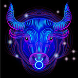 Neon signs of the Zodiac: Taurus. A series of signs of the zodiac. Made in neon art. On a black background constellations Royalty Free Illustration
