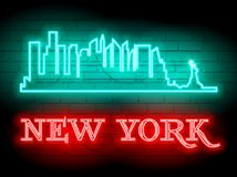 Neon silhouette of New York United States city skyline vector background. Neon style sign illustration. Illustration for t shirt. Printing or wall decoration