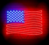 Neon silhouette  of United States of America flag. Brickwall as background Royalty Free Stock Image