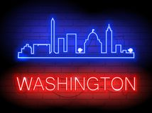 Neon silhouette of Washington United States city skyline vector background. Illustration for t shirt printing or wall decoration. Brickwall as background Stock Images