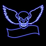 Neon skull with wings over a banner Stock Images