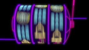 Neon slot machine hitting a 777 jackpot. 4K