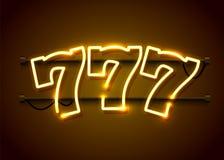 Neon 777 slots sign. Casino neon signboard. Online casino concept. Vector illustration vector illustration