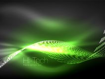 Neon smoke waves. Vector flowing motion background Royalty Free Stock Image