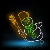 Neon Snowman Royalty Free Stock Photo