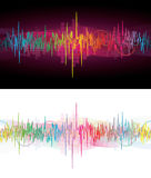 Neon sound waves. Two for one brightly colored sound waves on black or white, room for text Royalty Free Stock Photography