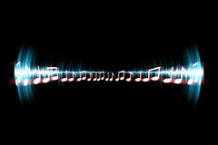 Neon Soundwave Notes Stock Photography