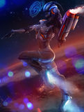 Neon space girl. Royalty Free Stock Photography