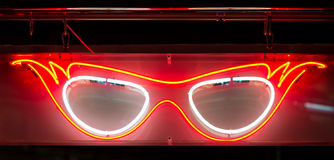Neon Specs Sign. Glowing Neon Glasses Spectacles Sign Stock Photo