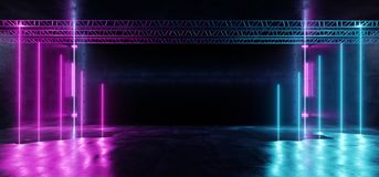 Neon Spectrum Retro Stage Consctruction Sci Fi Modern Spaceship Vertical Fluorescent Laser Lights Red Purple Blue Reflective. Grunge Concrete Room Tunnel Hall royalty free illustration