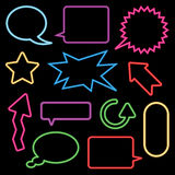 Neon speech bubbles and signs Royalty Free Stock Image