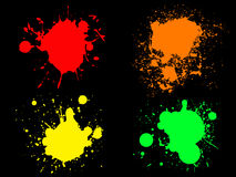Neon Splats 1. 4 Hi colour Neon Splats. (Isolated Vectors and on seperate layers) Can be overlayed on other Illustrations or Images stock illustration