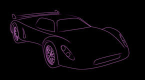 Neon sports car Stock Images